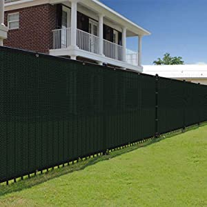 E&K Sunrise 6' x 50' Green Fence Privacy Screen, Commercial Outdoor Backyard Shade Windscreen Mesh Fabric 3 Years Warranty (Customized Set of 1