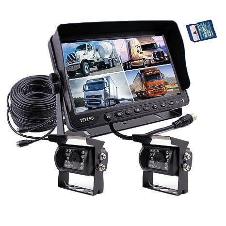 Zhiren Sistema de cámara de seguridad para coche, grabadora DVR integrada de 9 pulgadas,