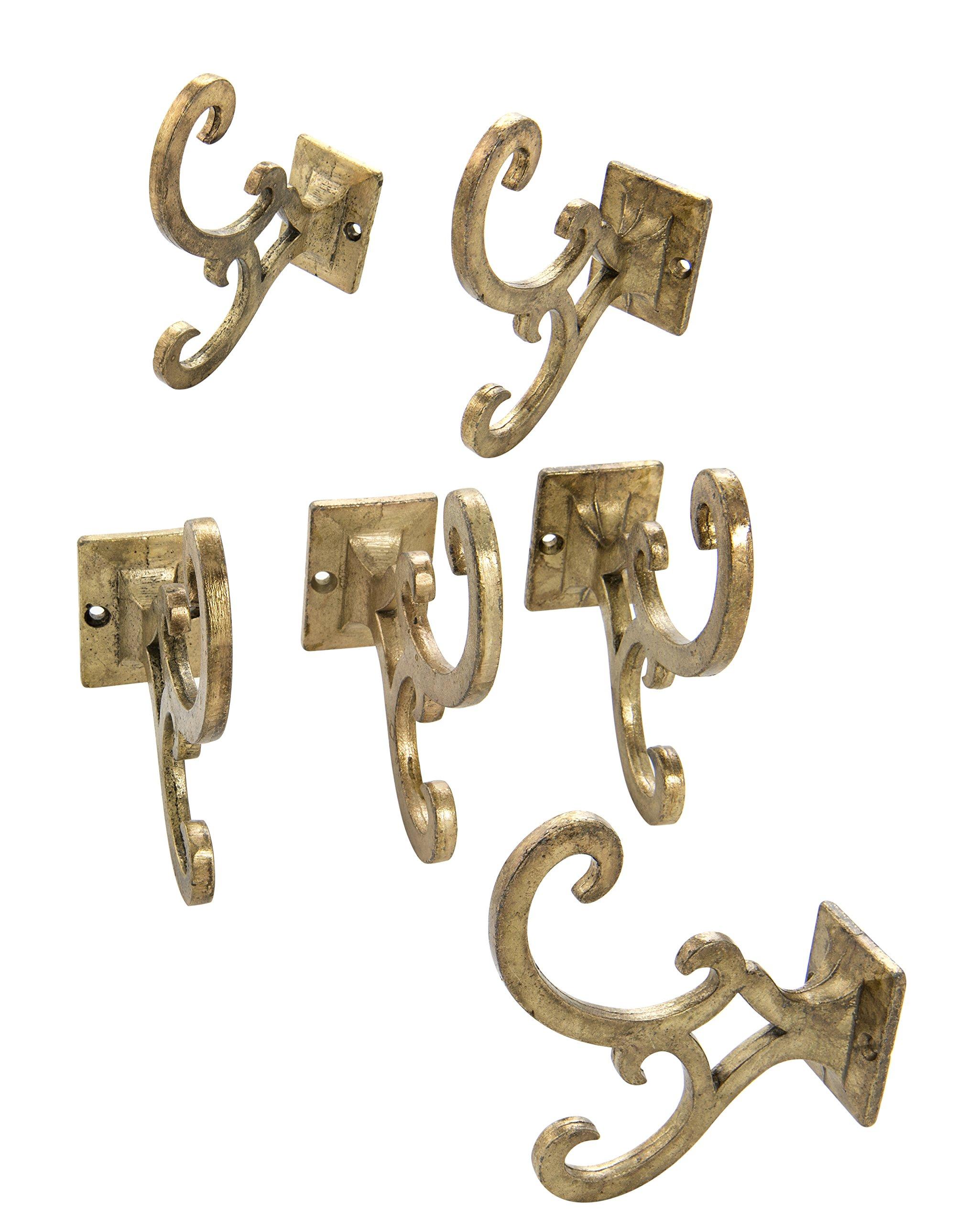 Dritz Home 47090A Metal Modern Wall Hook, Brass Wall Hooks