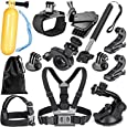 Robustrion 12 - in- 1 GoPro Hero 6/fusion/5/Session/4/3/2/HD/Hero &/SJCAM/SJ4000/SJ5000/SJ6000 Mounts Straps Accessory Kit For Outdoor & Adventure Sports