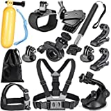 Robustrion Go Pro 12 in 1 Mounts and Straps Accessory Kit (Multi-Colored)