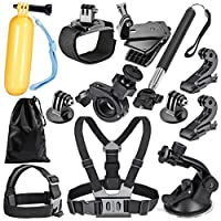 Robustrion 12 - in- 1 GoPro Hero 6/fusion/5/Session/4/3/2/HD/Hero &/SJCAM/SJ4000/SJ5000/SJ6000 Mounts Straps Accessory Kit For Outdoor & Adventure Sports