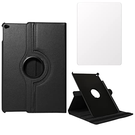 DMG PU Leather 360 Degrees Rotating Stand Case for Apple iPad Air 2 / iPad 6  Black  + Tempered Glass Screen Protector