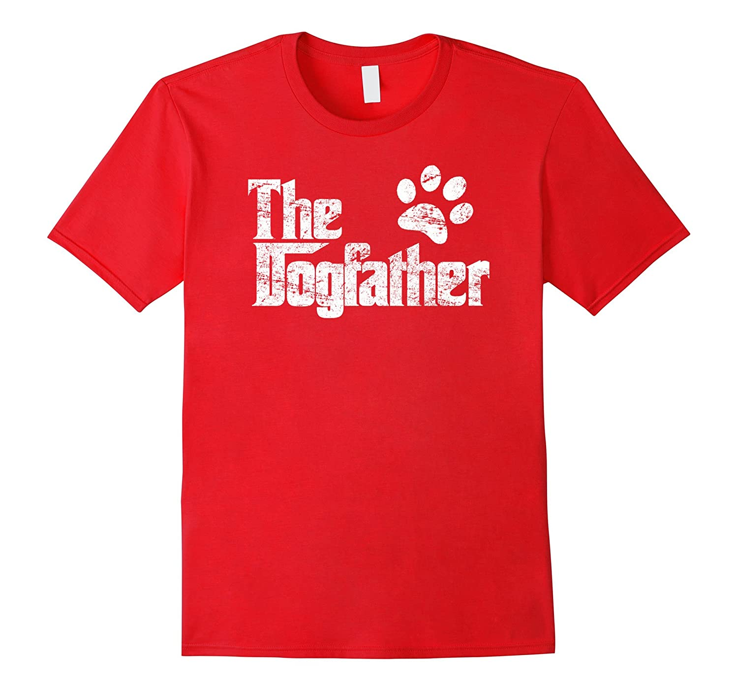 The Dogfather Shirt - Dog Father Footprint Paw Print T-shirt-CL