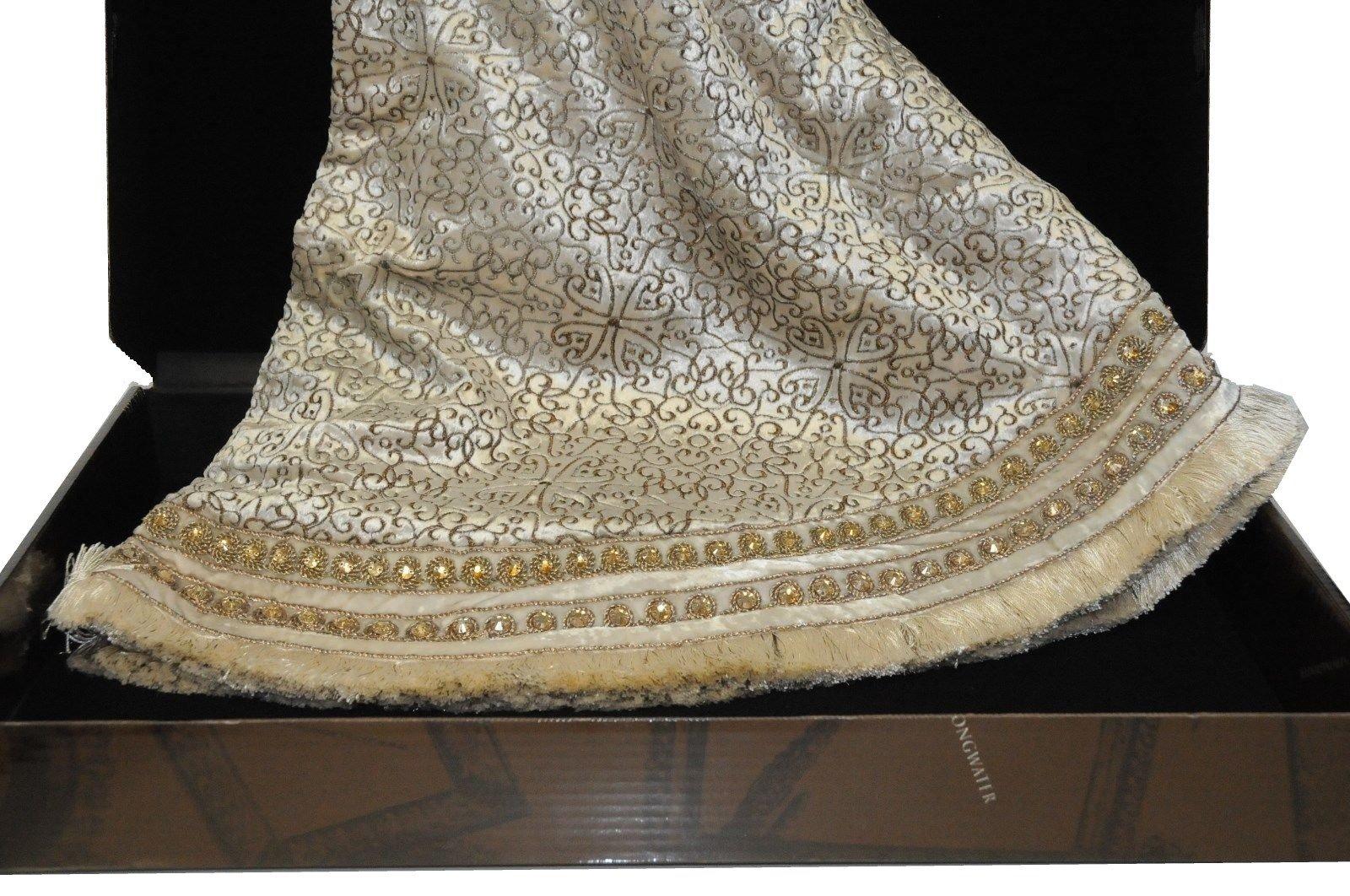 JAY STRONGWATER Heritage Jeweled Christmas Tree Skirt White Velvet