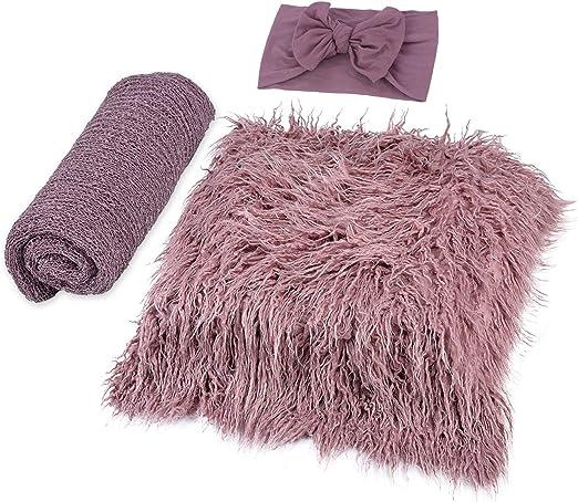 YIDAINLINE Newborn Wrap Baby Decke Haarband DIY Newborn Shooting Requisiten Accessoires Foto Requisiten Baby Teppich Knit Wrap f/ür Baby Fotografie Taufe Fotoshootings