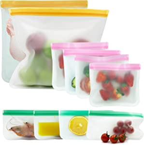 Reusable Food Storage Bags - 10 Pack BPA FREE Flat Freezer Bags(2 Reusable Gallon Bags + 4 Leakproof Reusable Sandwich Bags + 4 Food Grade Snack Bags) Plastic Free Lunch Bag | Eco-friendly