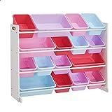 ROCKPOINT Kid's origanizer 16 Bins White/Pink&Purple Toy Storage Organizer