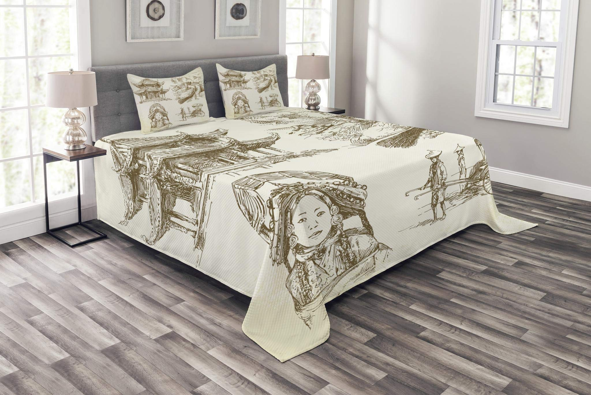 Lunarable Ancient China Bedspread Set King Size, Chinese Heritage Symbols Pagoda and Great Wall Woman Portrait Sketch Artwork, Decorative Quilted 3 Piece Coverlet Set with 2 Pillow Shams, Brown Cream