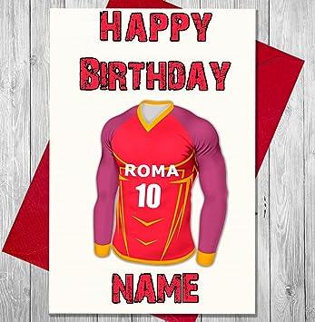 Personalizado Roma fútbol tarjeta de cumpleaños – cualquier nombre y numerados camiseta
