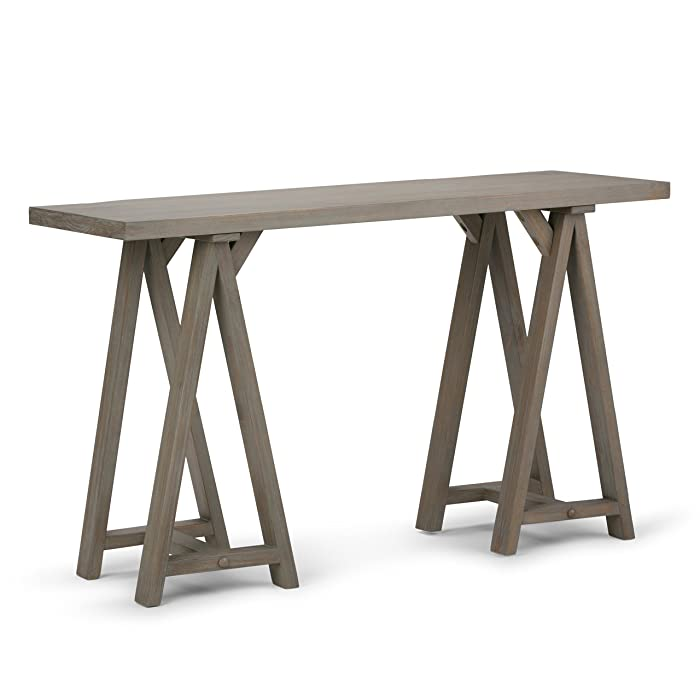 Simpli Home 3AXCSAW-03-GR Sawhorse Solid Wood 50 inch Wide Modern Industrial Console Sofa Table in Distressed Grey