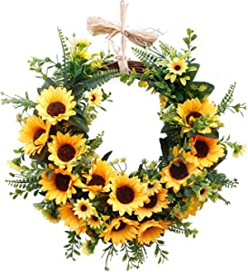 U'Artlines 16'' Artificial Sunflower Wreath Spring Summer Faux Floral Wreath Front Door Hanging Garland for Indoor Outdoor Home Wedding Window Wall Decoration (Floral Wreath, 16'' Sunflower)
