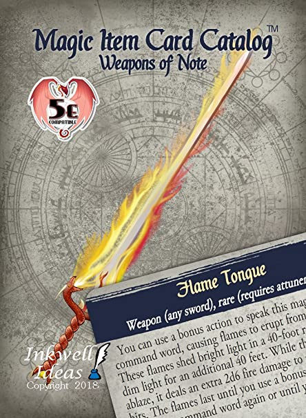 Inkwell Ideas Magic Item Card Catalog (5e): Weapons of Note