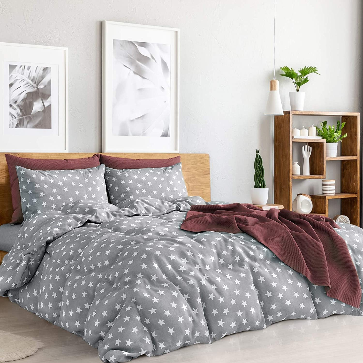 Amazon.com: Duvet Cover Queen 4 Pieces Set Grey & White Stars