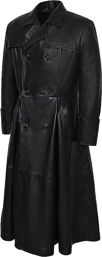 Manteau long en cuir homme cuir plongé couleur noir 032 Matrix