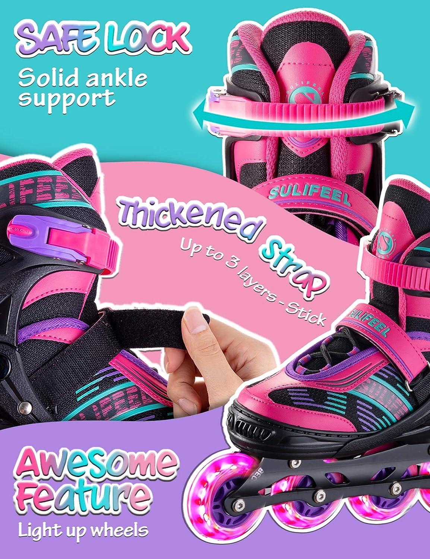 SULIFEEL Arigena 4 Size Adjustable Light up Inline Roller Skates for Girls and Boys Roller Skates for Kids and Women Adults Red Purple Green