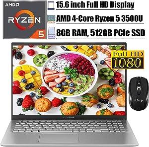 "2020 Flagship Asus Vivobook 15 LaptopComputer 15.6"" FHD DisplayAMD Quad-Core Ryzen 5 3500U (Beats i7-7500U) 8GB RAM 512GB PCIe SSD USB-CHDMI AMD Radeon Vega 8 Win 10 + iCarpWirelessMouse"