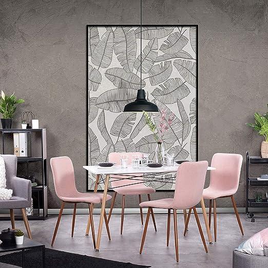 FURNITURE-R Franc - Mesa de Comedor con 4 sillas Rosas, Estilo ...