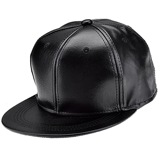 Ayliss Fashion Black Hip-hop Hat PU Leather Baseball Cap  Amazon.in   Clothing   Accessories ea76caca175