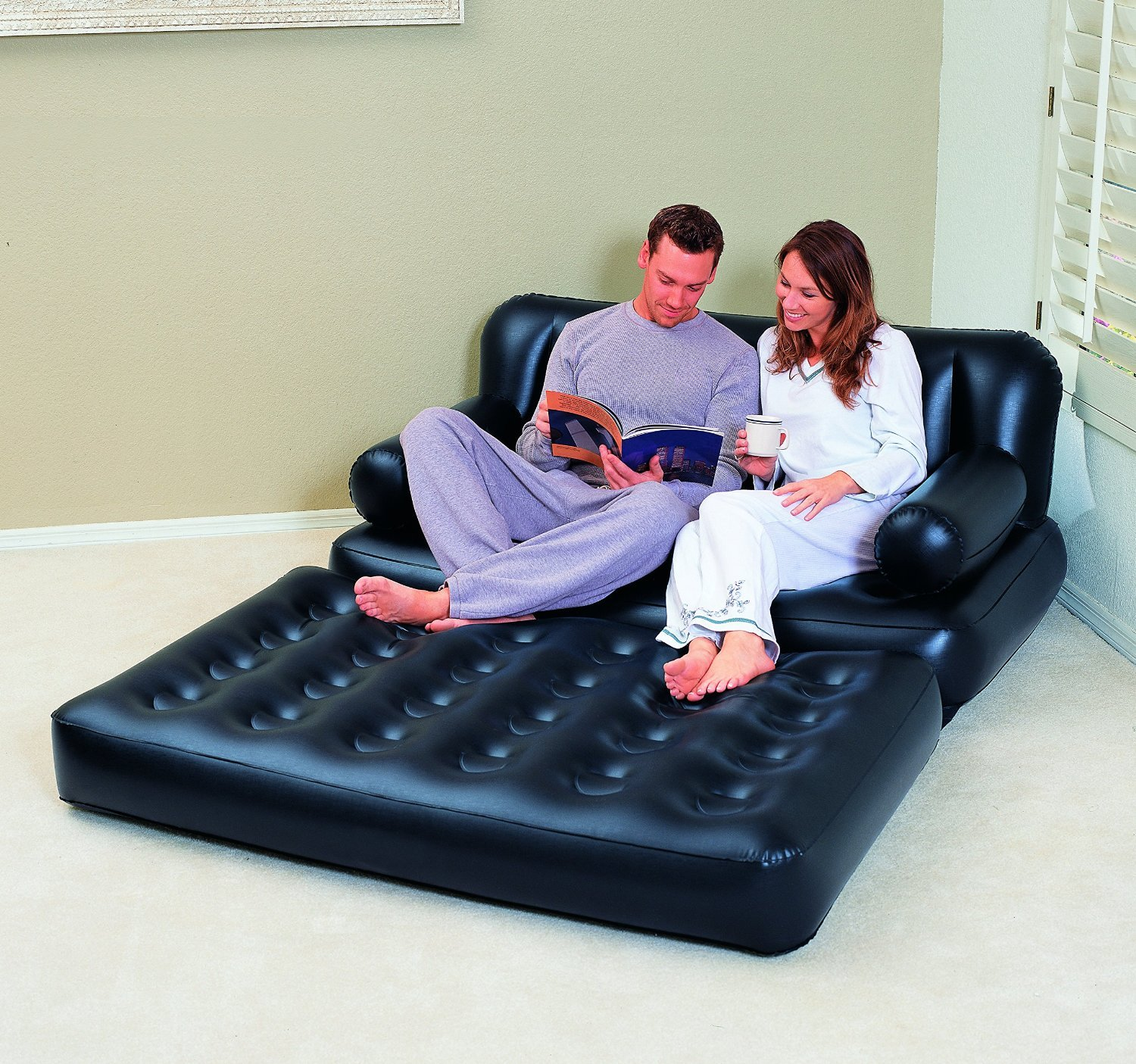 Multifunctional 5 in 1 Inflatable Double Air Sofa Chair Couch Lounger Bed Mattress Bestway