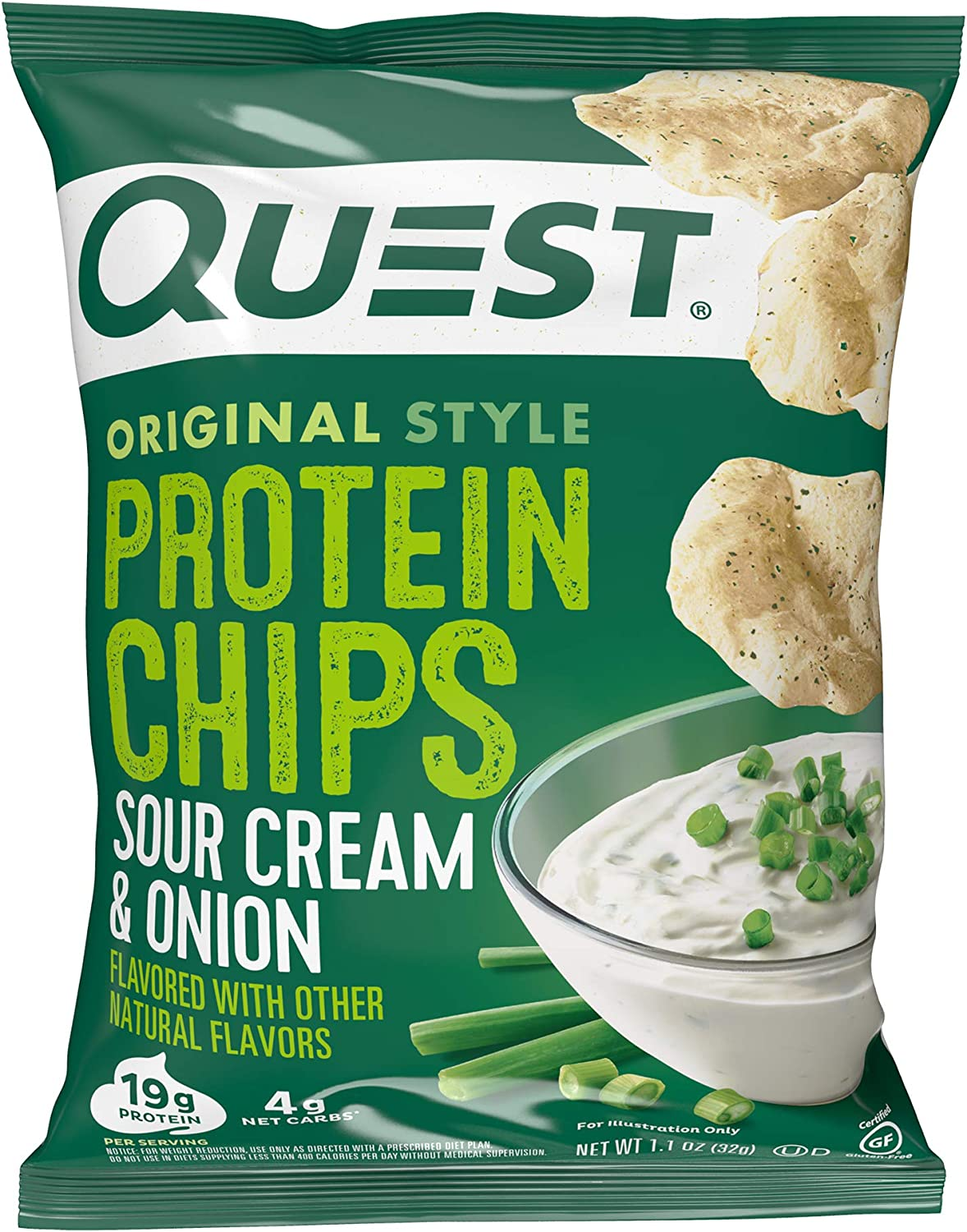 Quest Nutrition Protein Chips, Sour Cream & Onion, Pack of 12