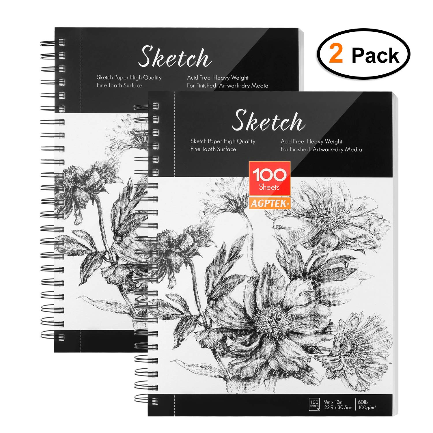 Sketch Book, AGPTEK Art Sketch Book 9''X12'', 2 Packs (68lb/100g), Spiral Bound with Easy-to-Remove Pages, Great for Artists, Writers & Illustrators by AGPTEK