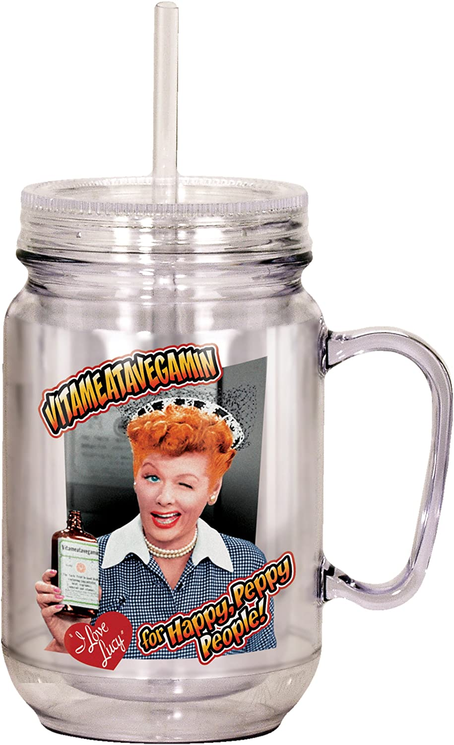 "Spoontiques""I Love Lucy"" Mason Jar, Multicolor"
