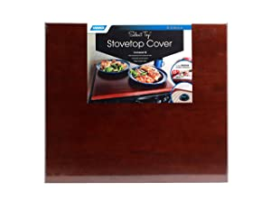 Camco 43526 Silent Top Stovetop Cover, Convert Your Stove Top to Extra Counter Space In Your Camper Or RV (Bordeaux Finish)