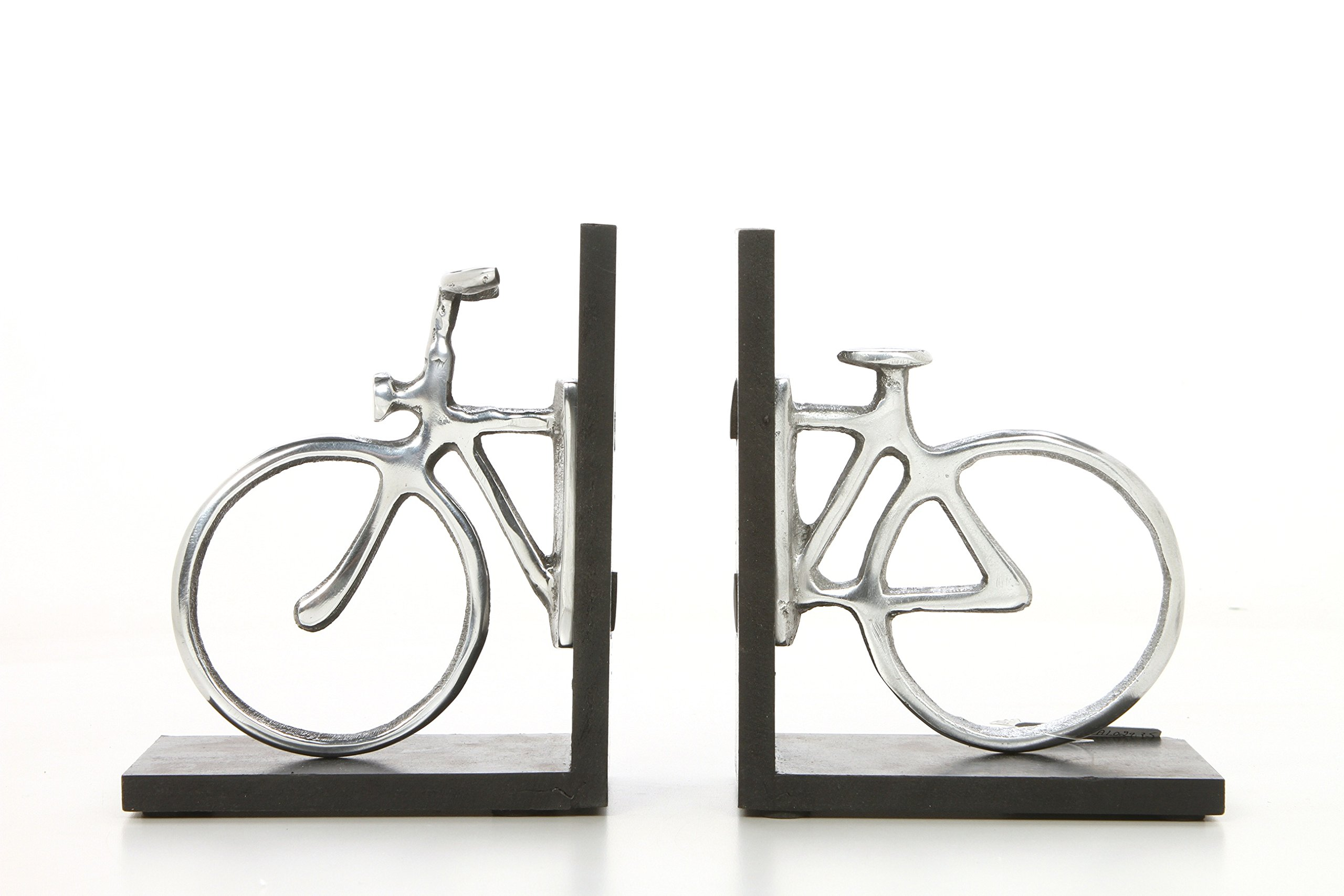 Hosley 6.75'' High, Decorative Tabletop Bicycle Bookends, Silver. Ideal Gift for Wedding, Home, Party Favor, Spa, Reiki, Meditation, Bathroom Settings P1