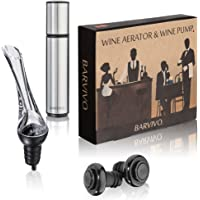 Wine Aerator and Wine Saver Pump with 2 Vacuum Bottle Stoppers by Barvivo -This All-in-One Kit is Leakproof, Easy to Use and Make Cheap Wine Taste Three Times as Good and Keep it Fresh for 14 Days.