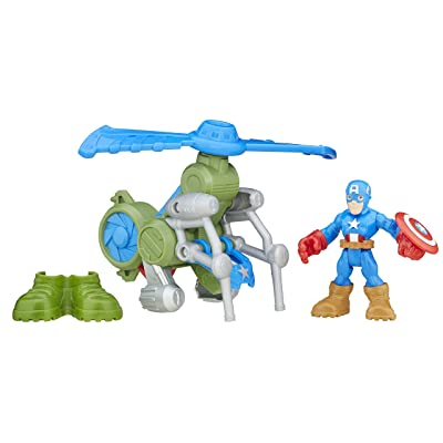 Playskool Heroes Super Hero Adventures Jungle Copter Captain America: Toys & Games