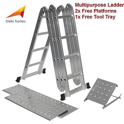 Stella 14-in-1 (15.5ft) Multi Plegable de 4,7 m Escalera con 2 platos de mandril de trabajo y 1 bandeja para herramientas, fabricada según Especificaciones ...
