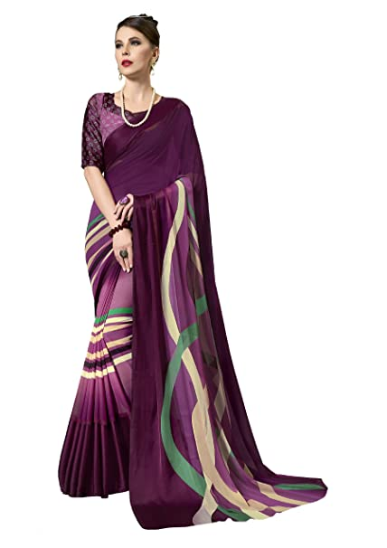 f2203a1ea Gaurangi Creation Women s Printed Weightless Georgette Satin Patta Saree  (leele3106