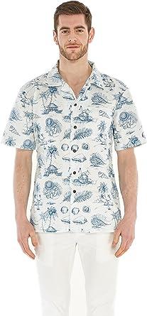 Camisa Hawaiana Hawaii para Hombres con Mangas Hawaianas Camisa Hawaiana Vendimia Tropical Toile: Amazon.es: Ropa y accesorios