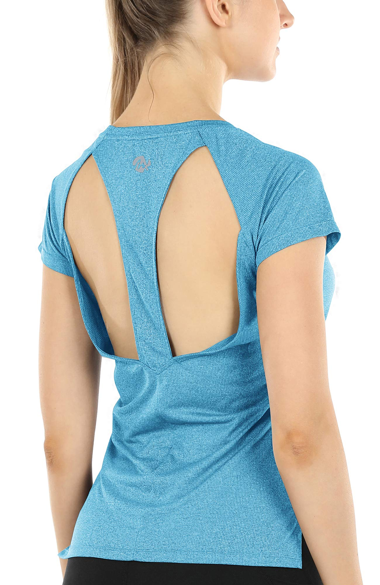 Melpoint Workout Yoga Shirts for Women - Open Back Athletic Tops Gym Running Exercise Tshirts Loose Fit (Blue, L)