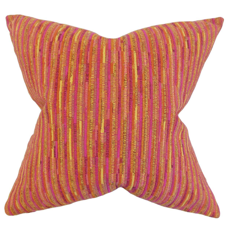 The枕コレクションp20-d-36240-pink-p100 Qiturahストライプ枕、ピンク、20