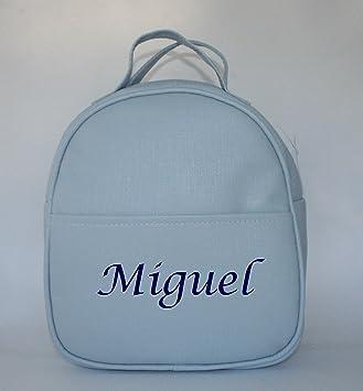 Mochila guardería en polipiel celeste, personalizada con nombre. / 29x24x11 cm./: Amazon.es: Bebé