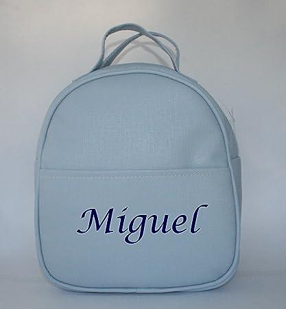 distribuidor mayorista ae2d7 d32c9 Mochila guardería en polipiel celeste, personalizada con ...