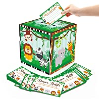 51PCS Safari Baby Shower Card Box Holder and Advice Cards Diaper Raffle Ticket for Safari Jungle Zoo Animals Themed Baby Shower Party Decorations Supplies
