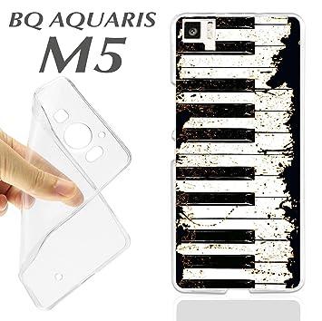 K243 FUNDA CARCASA BQ AQUARIS M5 BLANDA GEL TPU TECLAS PIANO ...