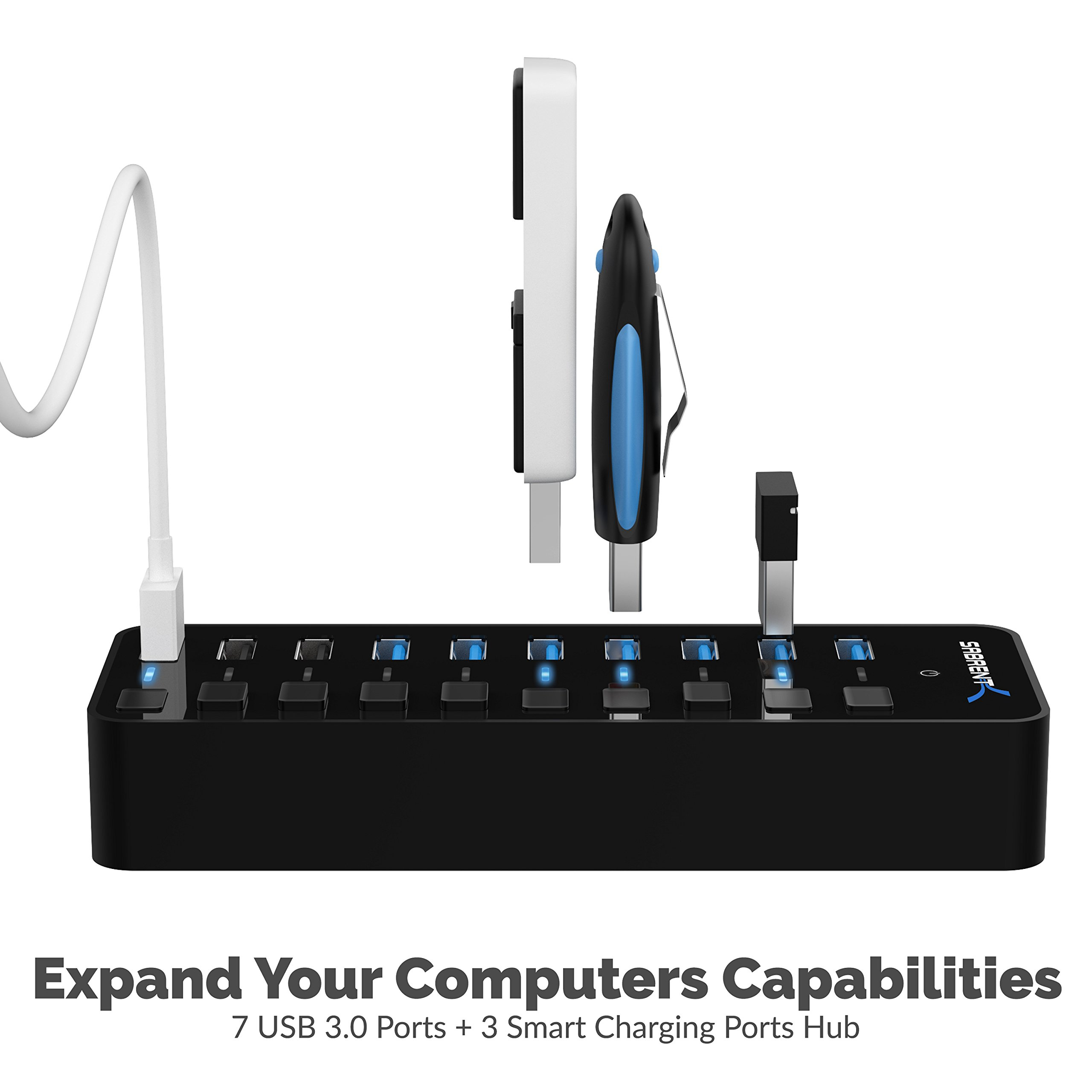Sabrent 60W 7-Port USB 3.0 Hub + 3 Smart Charging Ports with Individual Power Switches and LEDs includes 60W 12V/5A power adapter (HB-B7C3) by Sabrent (Image #2)