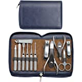 Manicure Set Mens Grooming Kit - Mifine 12 In 1 Stainless Steel Nail Clipper Tools Professional kit Manicure Pedicure Set with Leather Travel Case(Sapphire Blue)