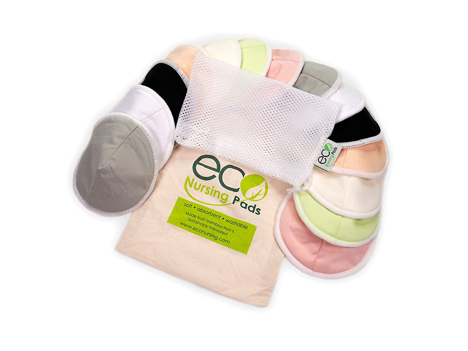 Washable Reusable Bamboo Nursing Pads Perfect Baby Shower Gift Medium 10cm | 14 Pack with 2 Bonus Pouches /& Free E-Book by EcoNursingPads Organic Bamboo Round Breastfeeding Pads