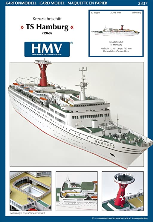 Hmv 3337 Kartonmodell Kreuzfahrtschiff Ts Hamburg Amazon De Spielzeug