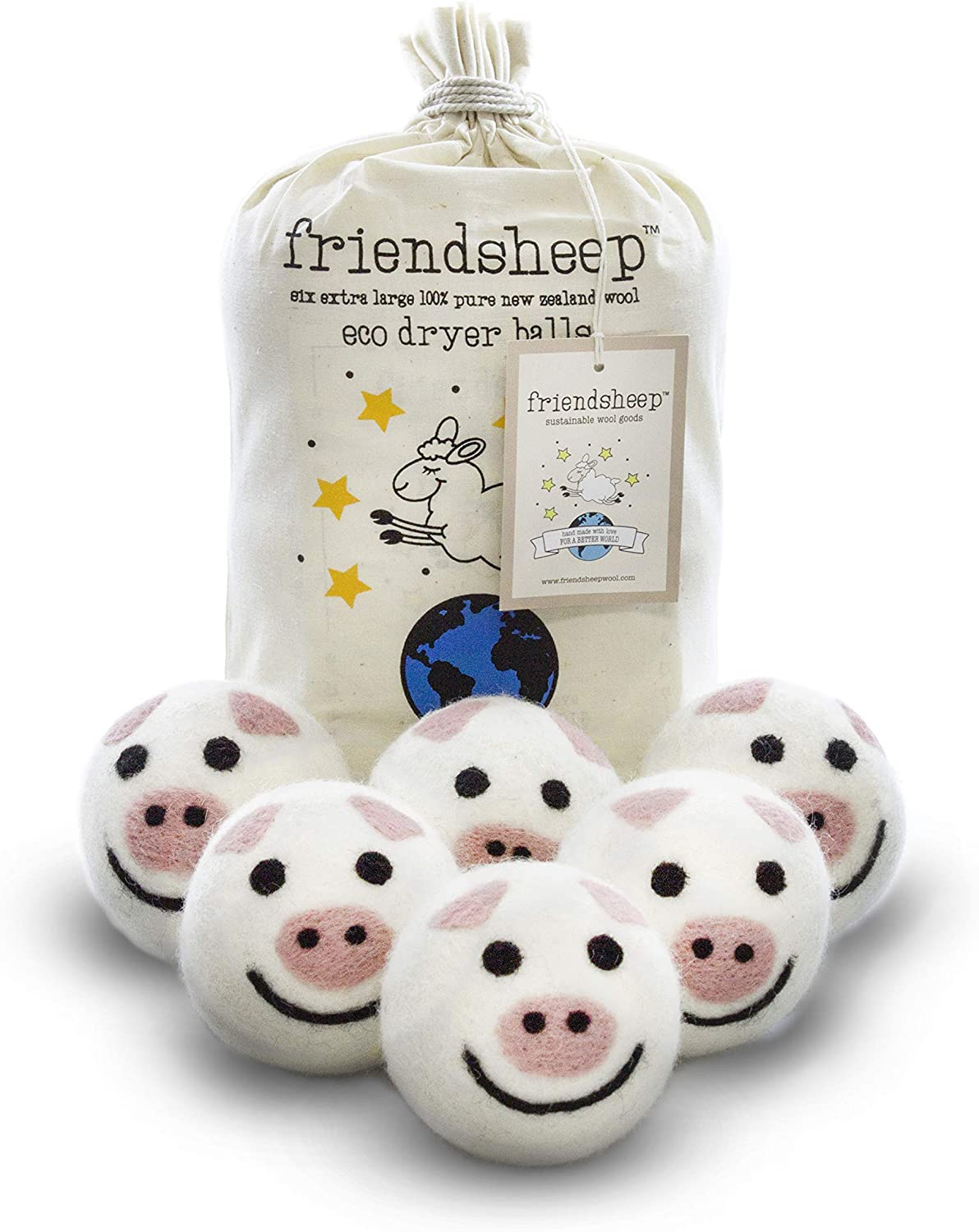 Friendsheep Wool Dryer Balls 6 Pack XL Organic Premium Reusable Cruelty Free Handmade Fair Trade No Lint Fabric Softener Pig - Piggy Band