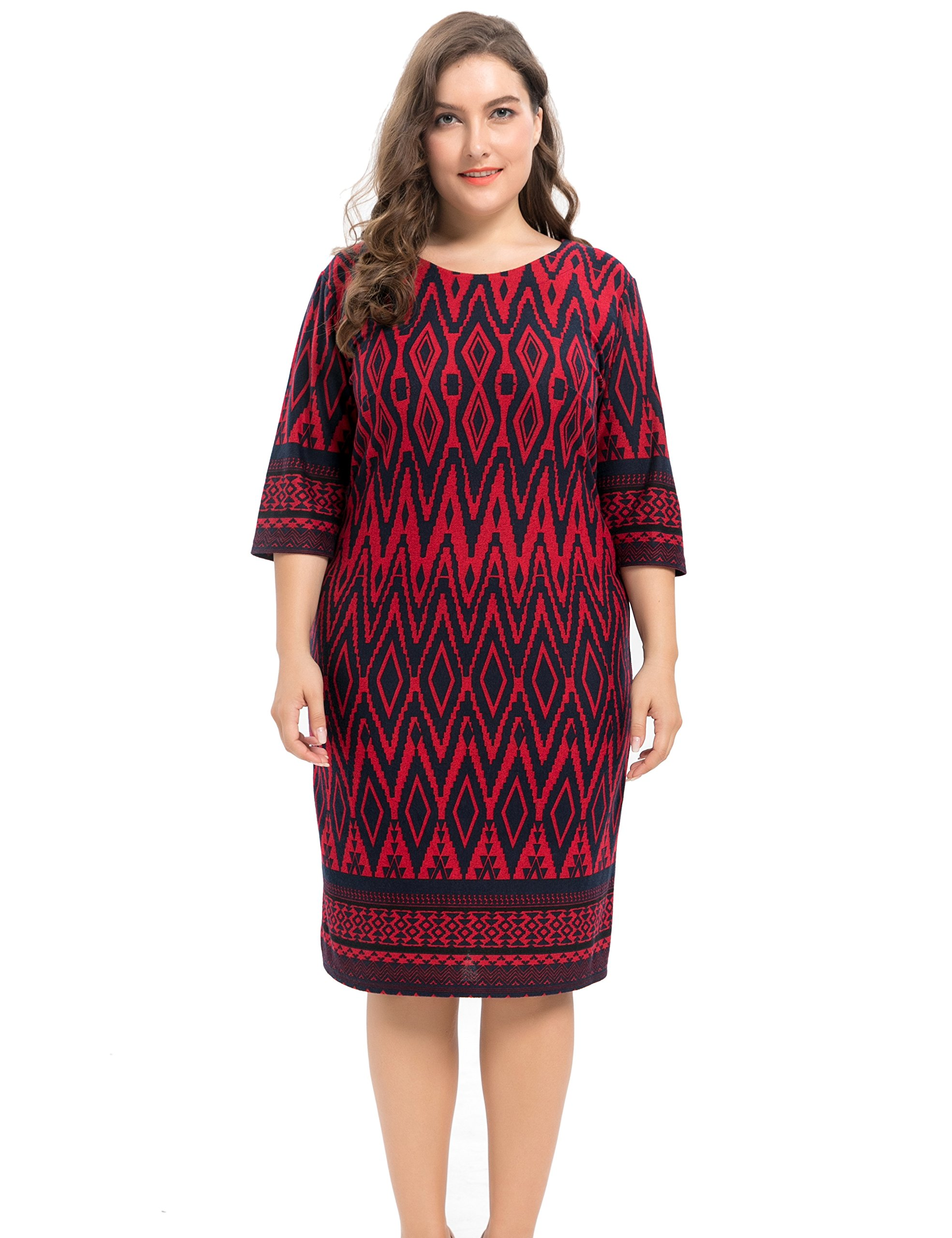 4b47205dd0 ... Friday/Chicwe Women's Plus Size Stretch Zigzag Printed Cashmere Touch  Shift Dress – Knee Length Casual and Work Dress Red 3X. ; 