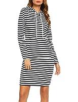 ACEVOG Women O-Neck Short Sleeve Striped Summer Casual Flared A-Line Dress