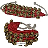 Prisha India Craft ® Kathak Ghungroo (16 No. Ghungroo) Best Quality 3 Line Big Dancing Bells Ghungroo Pair Handmade Indian Classical Dance Accessories Ghungru Red Pad