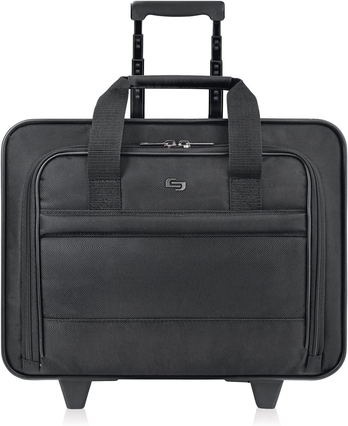 Solo New York Carnegie Rolling Laptop Bag.Slim, Compact Design Rolling Case for Women and Men. Fits up to 15.6 inch laptop - Black