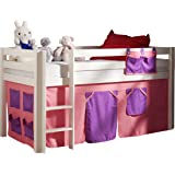 Vipack PICOHSZG1474 Spielbett Pino mit Textilset Bella, Maße 210 x 114 x 106 cm, Liegefläche 90 x 200 cm, Kiefer massiv weiß lackiert